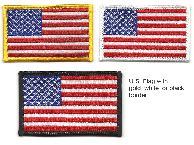 U.S. Flag with gold, white, or black border.