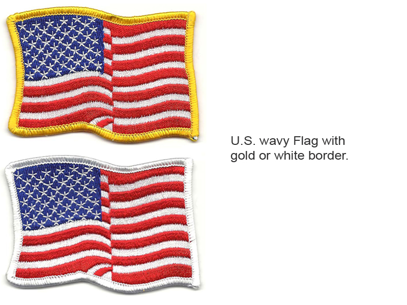 U.S. wavy flag with gold or white.